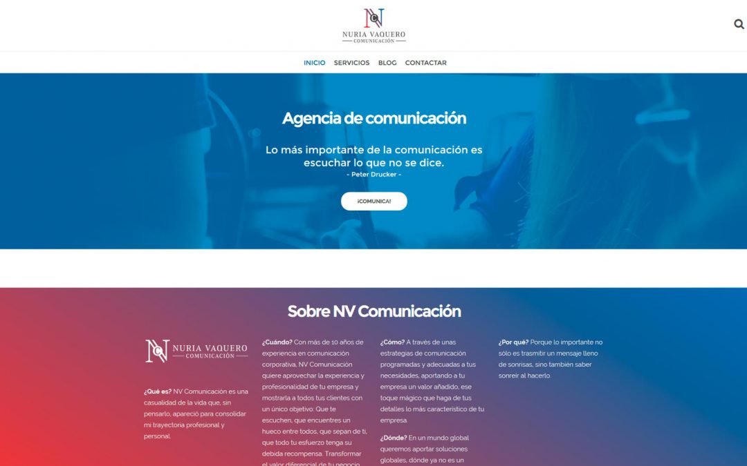 Página web NV Comunicación – Agencia de comunicación